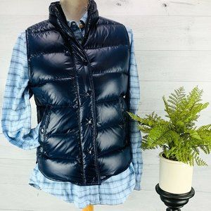 J. Crew Womens Shiny Puffer Vest Navy Blue S